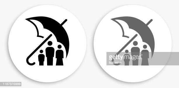 family insurance black and white round icon - guarding stock illustrations
