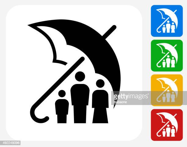 Family Insurance Icon Flat Graphic Design