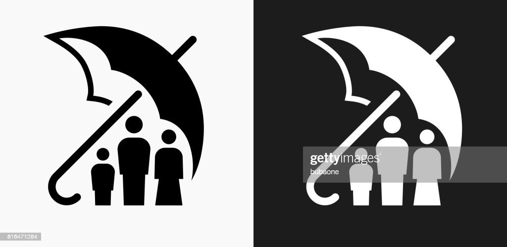 Family Insurance Icon on Black and White Vector Backgrounds