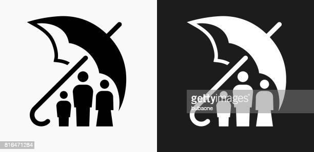Familia seguro icono en blanco y negro Vector fondos