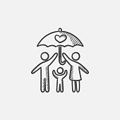 Family insurance sketch icon