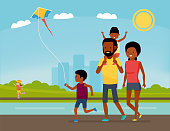 Family is having fun in a nature. African american family in the Park. Summer Vacation. Cartoon vector illustration. Sea tour. African american family. Flat cartoon illustration.