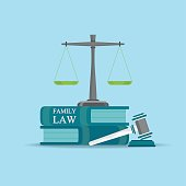 Family  Law books with a judges gavel in flat style.