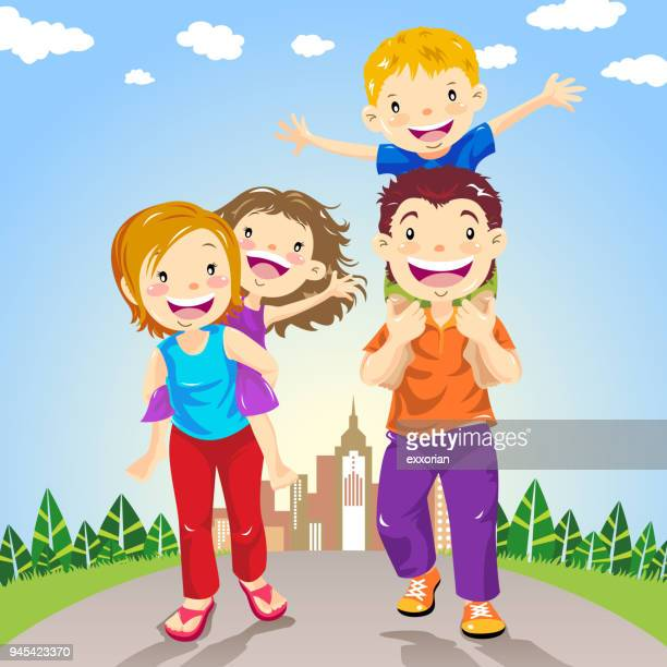 family leisure activity - piggyback stock illustrations, clip art, cartoons, & icons