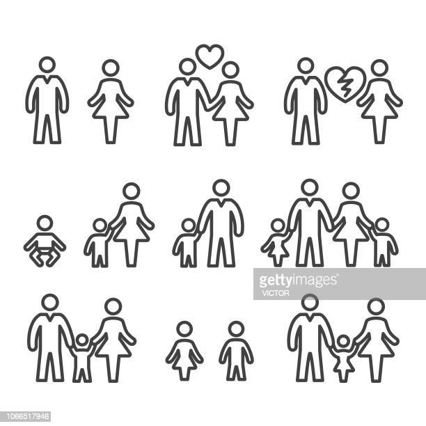 family life icons - line series - parent stock illustrations