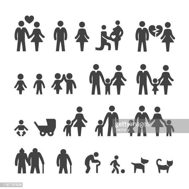 ilustraciones, imágenes clip art, dibujos animados e iconos de stock de iconos de la vida familiar - smart series - grupo mediano de personas