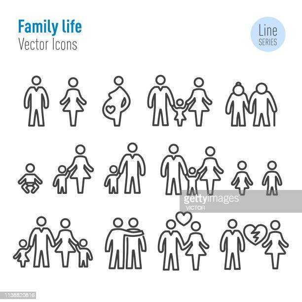 family life icons - vector line series - parent stock illustrations