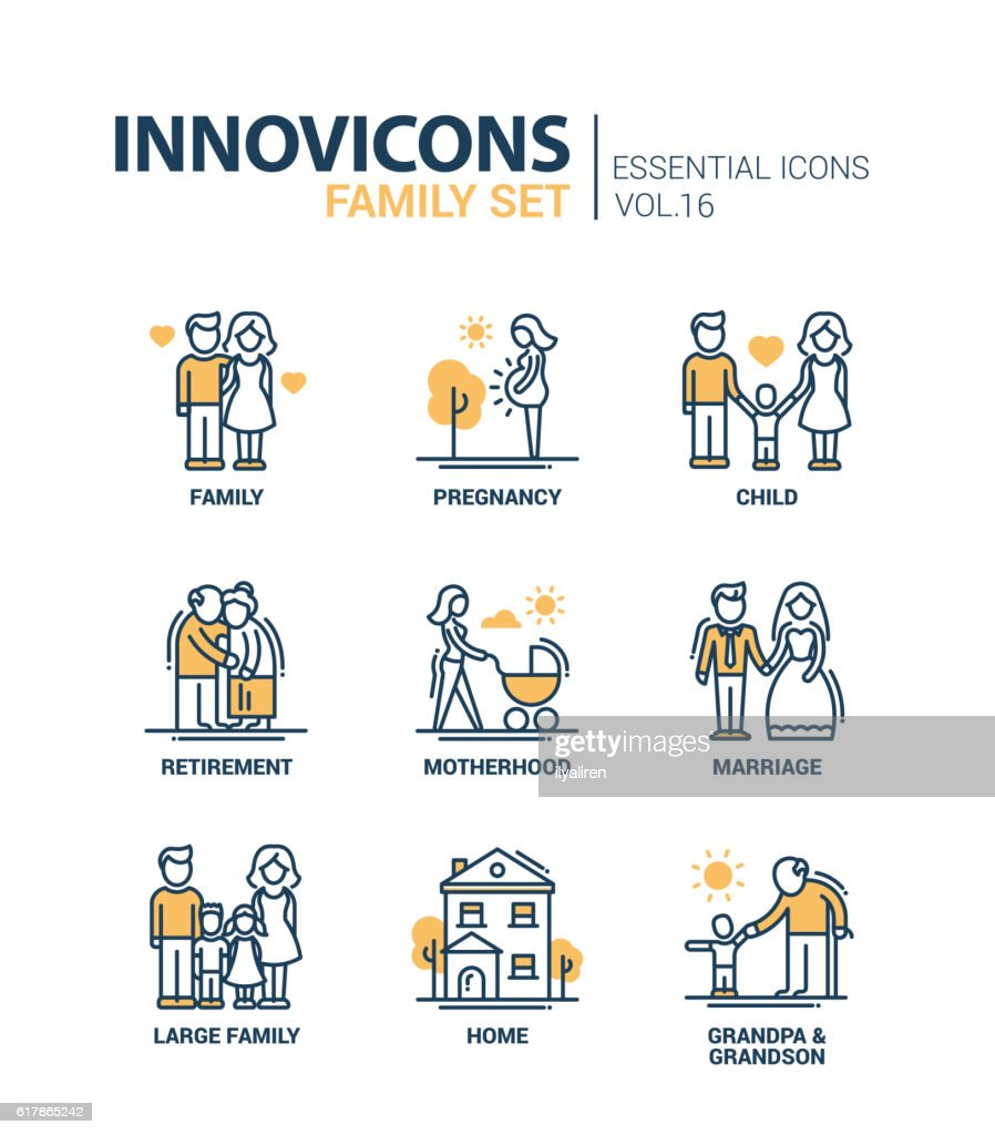 Family - line design icons set