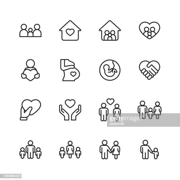 illustrations, cliparts, dessins animés et icônes de icônes de ligne de famille. course modifiable. pixel parfait. pour mobile et web. contient des icônes telles que la famille, le parent, le père, la mère, l'enfant, la maison, l'amour, les soins, la grossesse, poignée de main, le soutien, l'unit� - génération du millénaire
