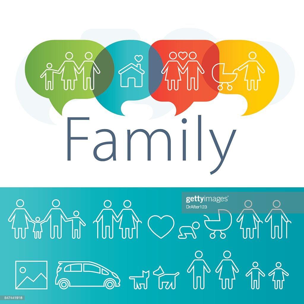 Family Logo Plus Outline Icons Set