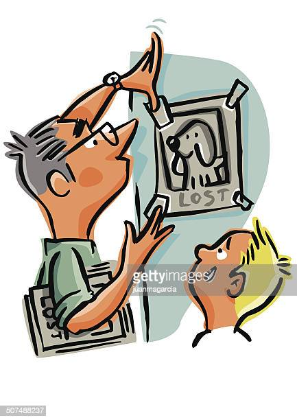 family looking for their lost pet, hanging signs of lost - lost stock illustrations, clip art, cartoons, & icons
