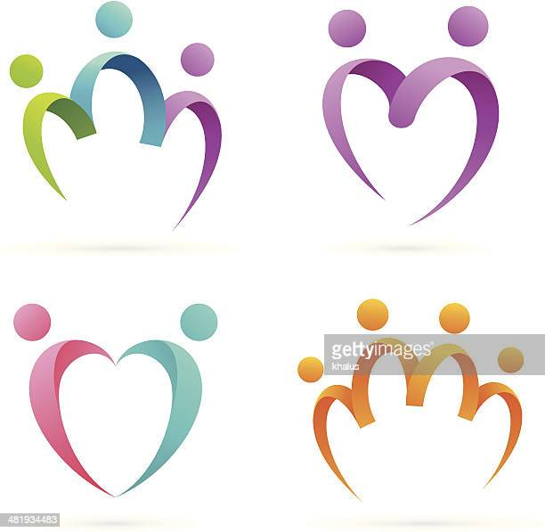 family & love - three people stock illustrations
