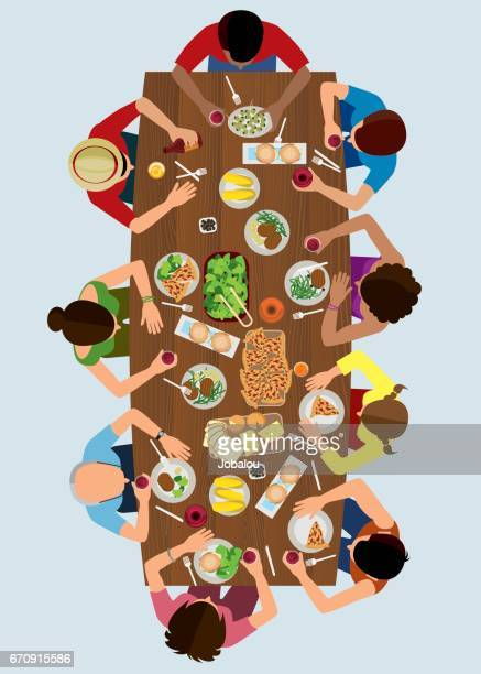 stockillustraties, clipart, cartoons en iconen met bovenaanzicht van de familie lunch - food and drink