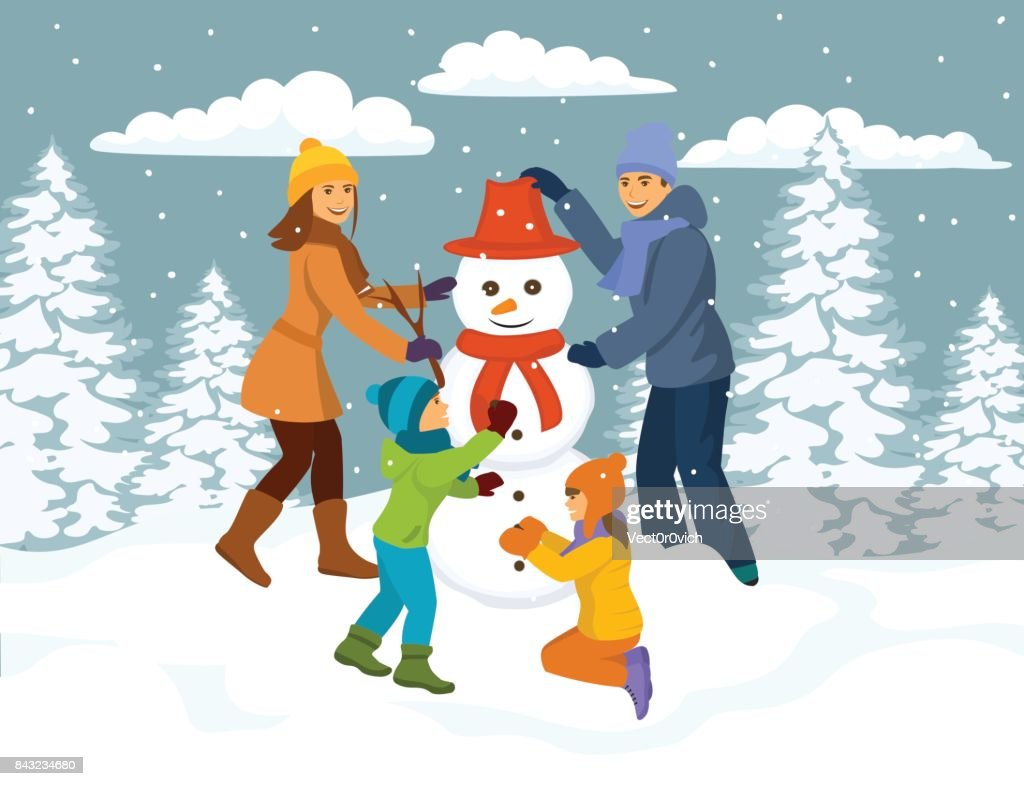 Family making snowman scene, winter snow forest park background