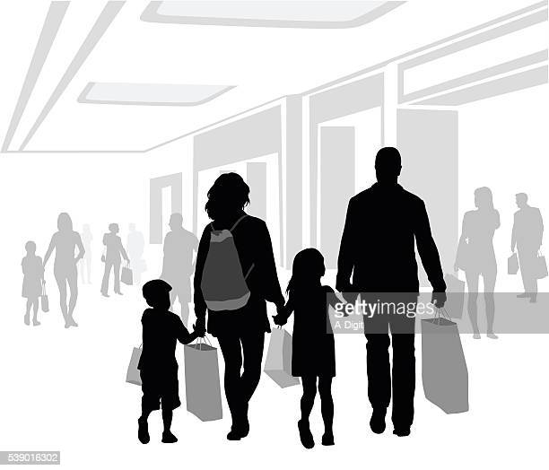 family mall shopping - door frame stock illustrations, clip art, cartoons, & icons