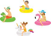 family, man woman, parents and children on summer time vacation swimming on iflatable floating  mattress rings in shapes of dragon, duck, flamingo, unicorn