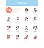 Family - modern line design icons set