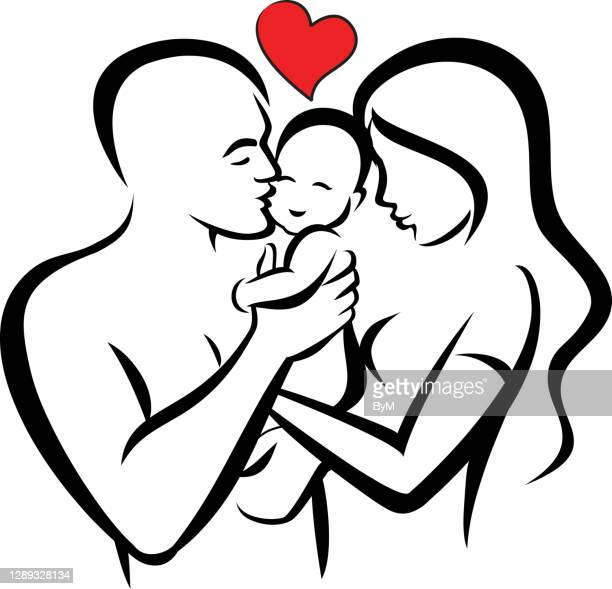 family - mom, dad and baby - baby m stock illustrations