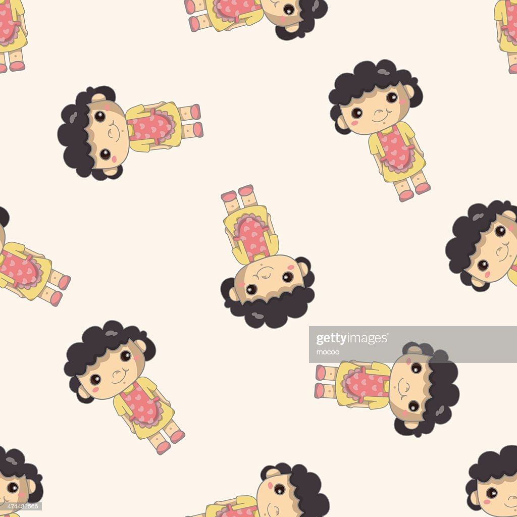 family mother character , cartoon seamless pattern background