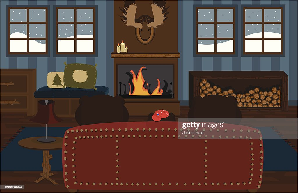 Family of Bears Relaxing on Couch in Cabin