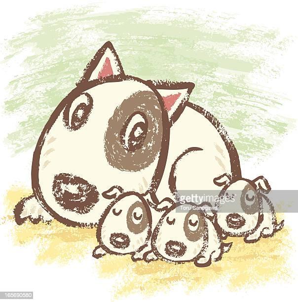 family of bullterrier - bull terrier stock illustrations