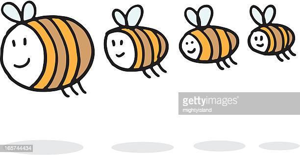 illustrazioni stock, clip art, cartoni animati e icone di tendenza di famiglia di bumblebees - bumblebee
