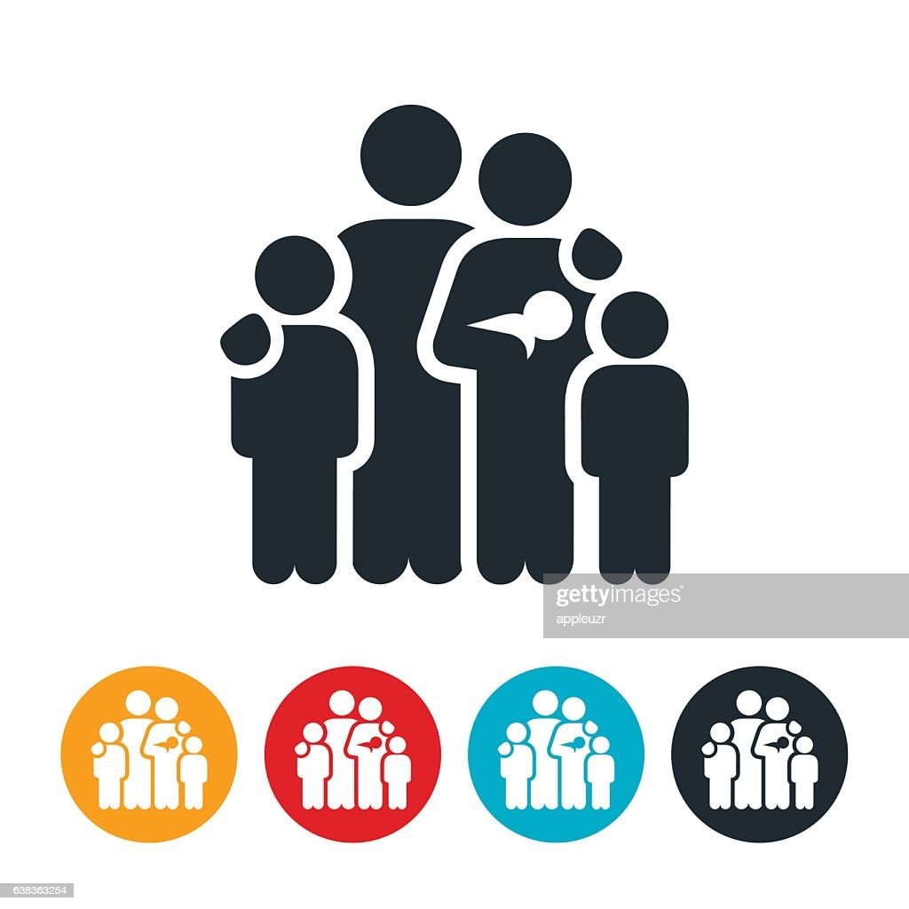 Family of Five Icon : stock illustration