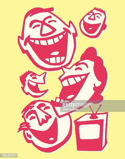 family of four laughing at television - laughing stock illustrations, clip art, cartoons, & icons