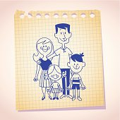 family of four note paper sketch