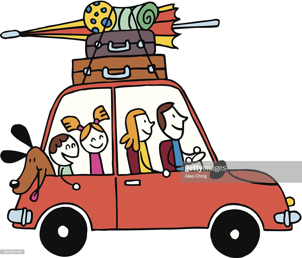 Family of four vacation, Car with luggage travel vector illustration