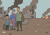 Family of refugees with two children on destroyed buildings background. Immigration religion and social theme. War crisis and immigration. Horizontal vector illustration cartoon characters.