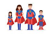 Family of superheroes. Mom, son, daughter, dad together. Vector illustration.