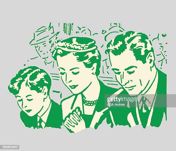 family of three praying in church - church stock illustrations, clip art, cartoons, & icons