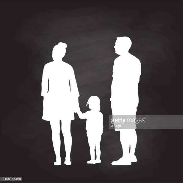 family of three silhouette chalkboard - child care stock illustrations