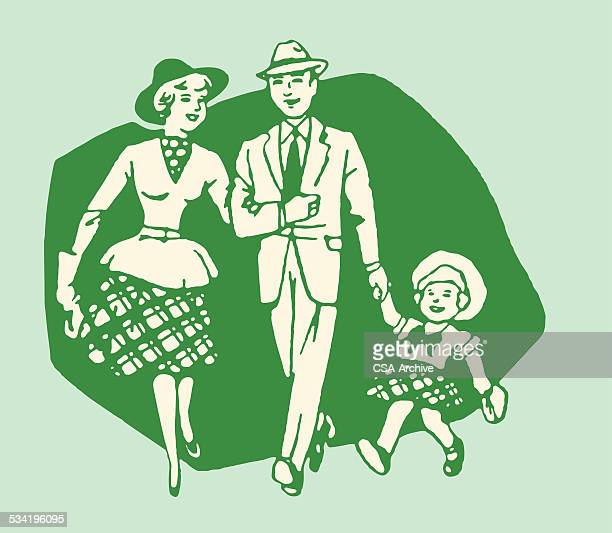 family of three - arm in arm stock illustrations, clip art, cartoons, & icons