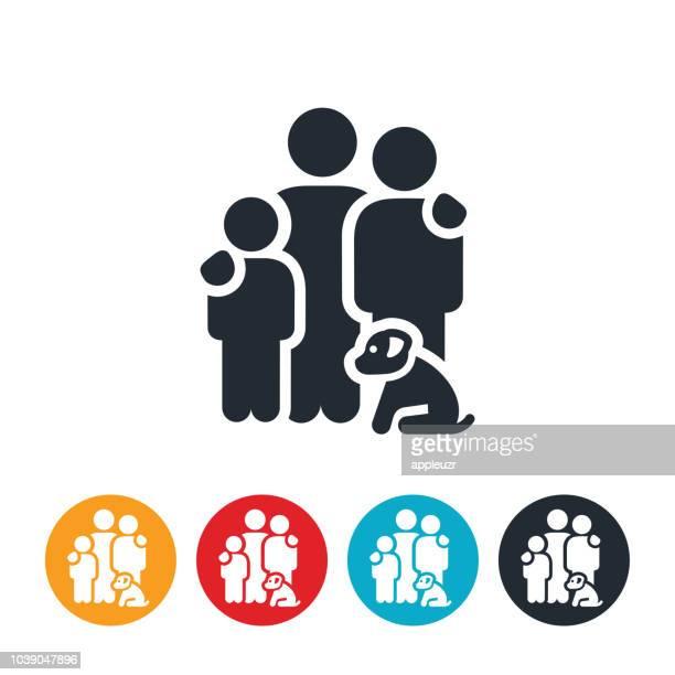 ilustrações de stock, clip art, desenhos animados e ícones de family of three with dog icon - família