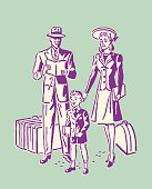 Family of three with Luggage