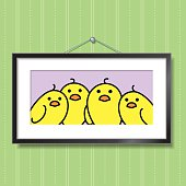 Family of Yellow Chicks in Picture Frame