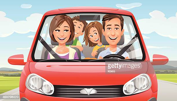 family on a road trip - car stock illustrations, clip art, cartoons, & icons