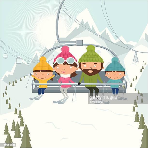 illustrations, cliparts, dessins animés et icônes de famille sur un télésiège à ske resort - ski alpin