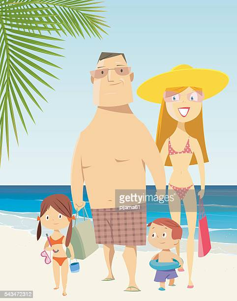 family on vacations - adult stock illustrations