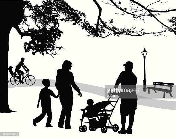 Family Park Vector Silhouette