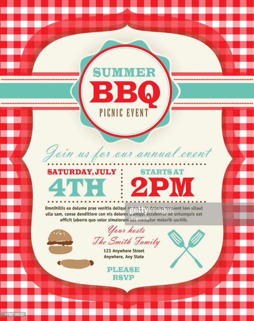 Family Picnic and BBQ invitation design template on checkered tablecloth