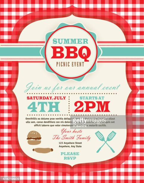 family picnic and bbq invitation design template on checkered tablecloth - tablecloth stock illustrations, clip art, cartoons, & icons