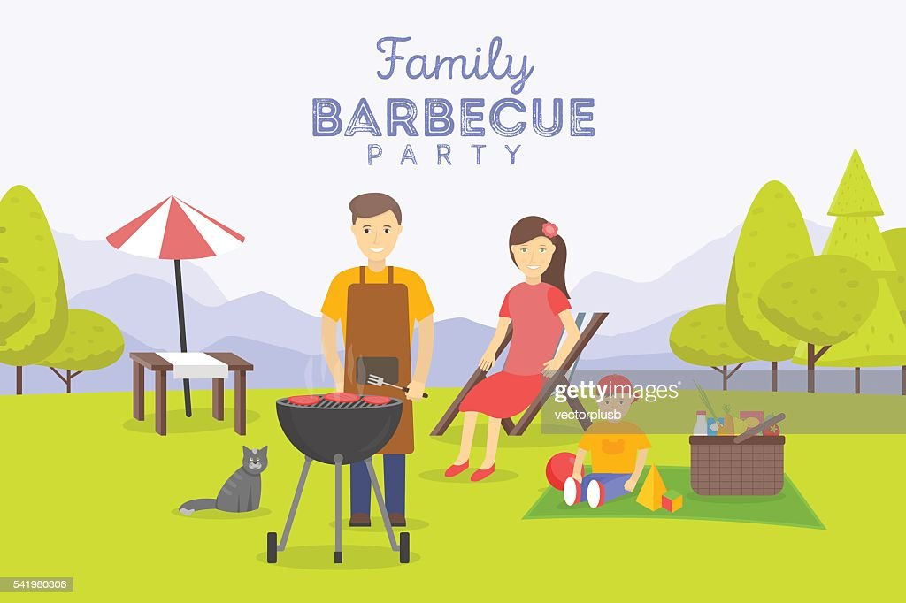 Family picnic. Bbq party. Food and barbeque, summer and grill.