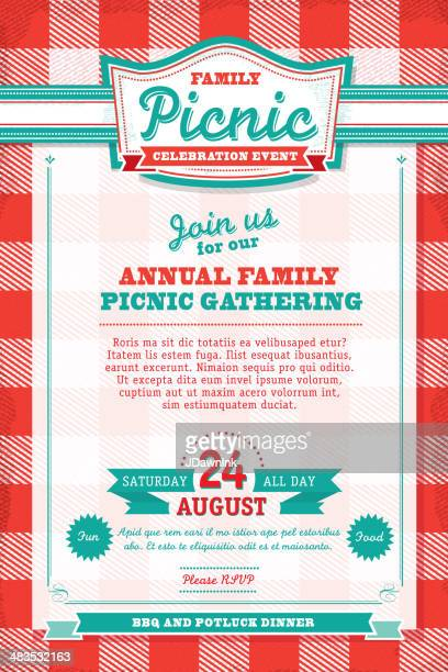 family picnic celebration tablecloth invitation design template - tablecloth stock illustrations, clip art, cartoons, & icons