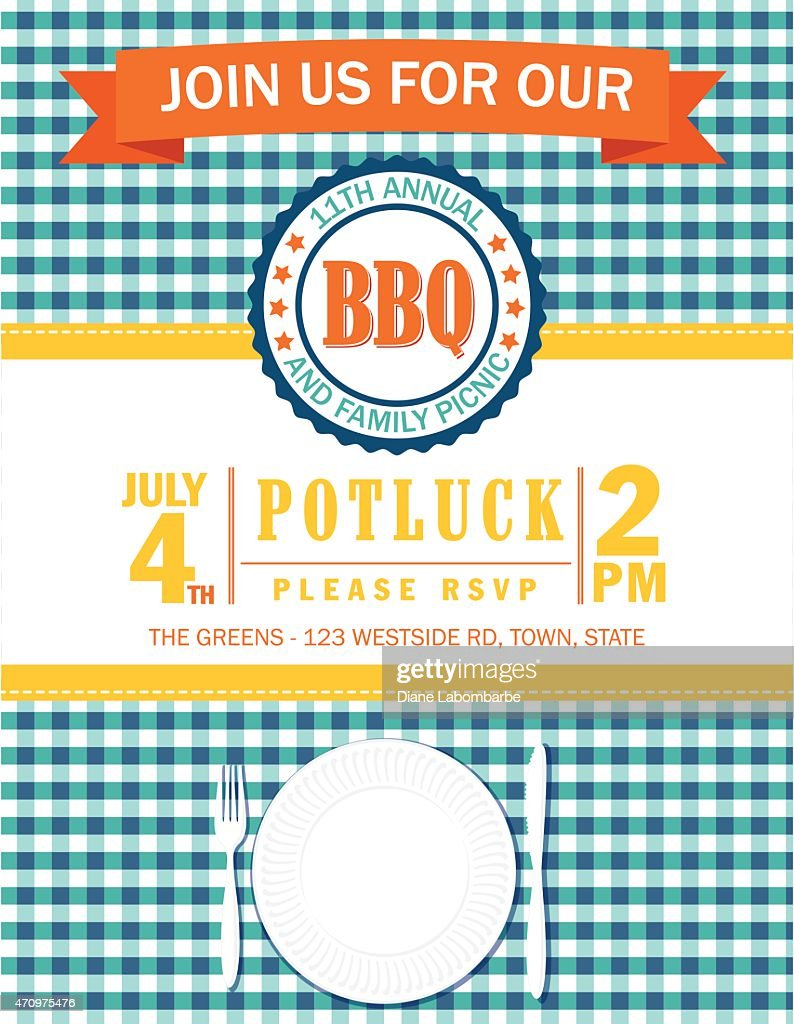family picnic invitation template with checked tablecloth vector art