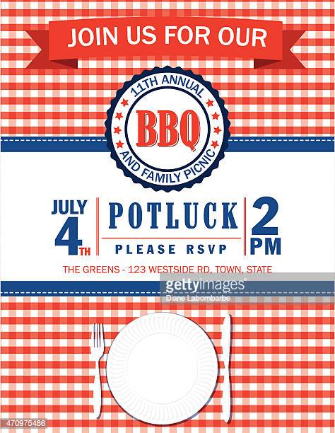 Family Picnic Invitation Template With Checked Tablecloth