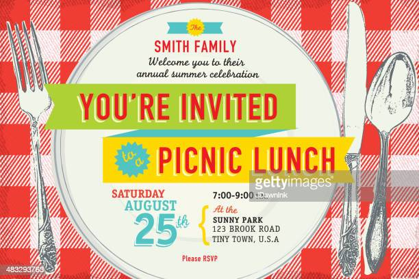 family picnic lunch invitation design template - lunch stock illustrations