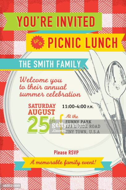 Family picnic lunch with antique placesetting invitation design template